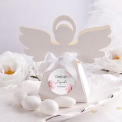 PUDEŁECZKA Aniołek Romantyczna Piwonia 10szt (+etykiety z imieniem+białe wstążki)