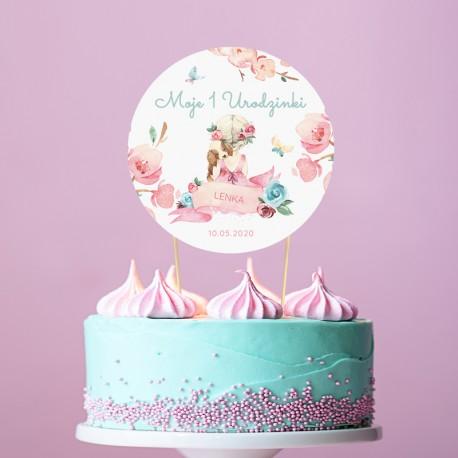 TOPPER na tort NA ROCZEK Dziewczynka z pieskiem Z IMIENIEM