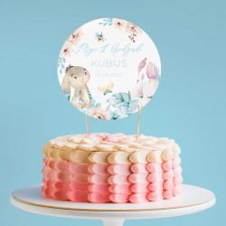 TOPPER na tort NA ROCZEK Niebieski Króliczek Z IMIENIEM