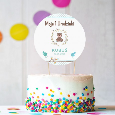 TOPPER na tort NA ROCZEK Miś dla Chłopca Z IMIENIEM