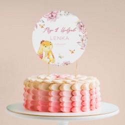 TOPPER na tort NA ROCZEK Różowy Króliczek Z IMIENIEM