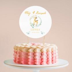 TOPPER na tort NA ROCZEK Urocza Sarenka Z IMIENIEM