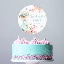 TOPPER na tort Roczek i Urodziny Flower Girl Z IMIENIEM