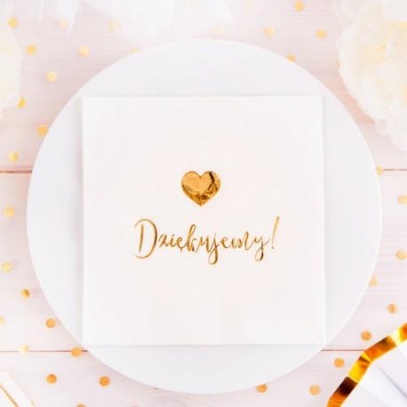 SERWETKI ze złotym napisem Dziękujemy i sercem 33x33cm 20szt