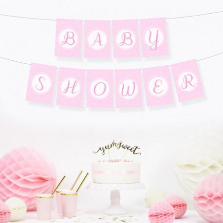 BANER girlanda Baby Shower RÓŻOWY DUŻY FORMAT