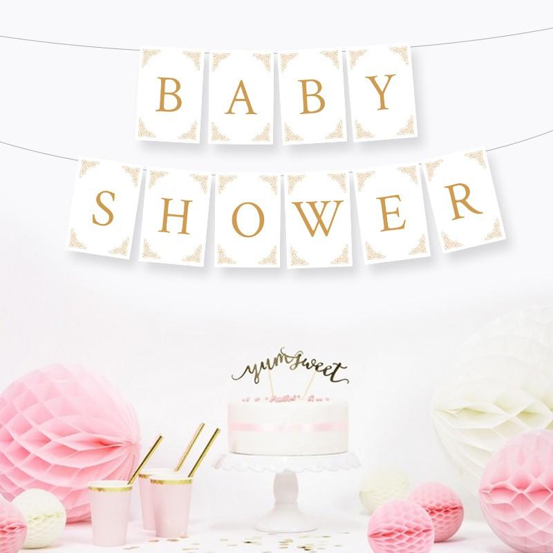 Baner girlanda na Baby Shower biało-złoty