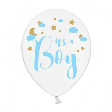 BALONY It's a Boy Baby Shower 30cm 6szt BŁĘKITNE