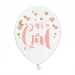 BALONY It's a Girl Baby Shower 30cm 6szt RÓŻOWE