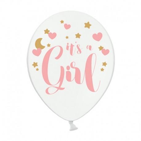 BALONY It's a Girl Baby Shower 30cm 6szt RÓŻOWE