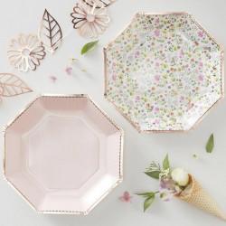 TALERZYKI papierowe Kolorowe Kwiaty ROSEGOLD 23cm 8szt OSTATNIA PACZKA