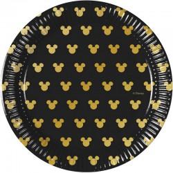 TALERZYKI papierowe Mickey Gold CZARNE 20cm 8szt