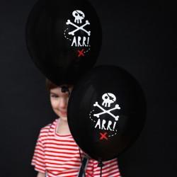 BALONY czarne Piraci 30cm 6szt