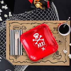TALERZYKI papierowe Piraci Czerwone 20x20cm 6szt