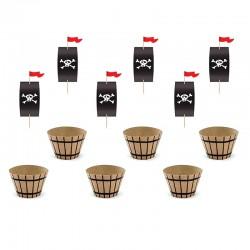 ZESTAW do muffinek Piraci (papilotki 6szt + karteczki na piku 6szt)