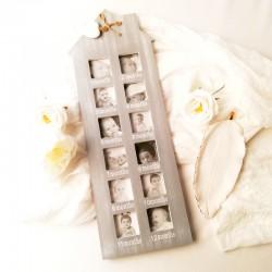 FOTORAMKA drewniana na 12 zdjęć PREZENT na narodziny dziecka