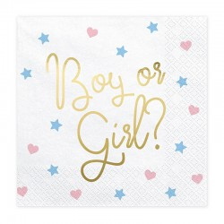SERWETKI na Baby Shower Boy or Girl 33x33cm 20szt