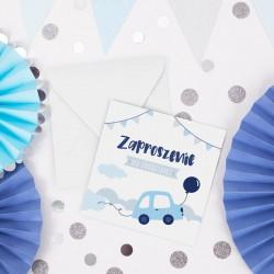 ZAPROSZENIA na Urodziny dziecka Autka 10szt (+koperty)