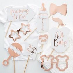 REKWIZYTY do zdjęć na Baby Shower ROSEGOLD 10szt