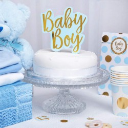 TOPPER na tort na Baby Shower BABY BOY NIEBIESKI