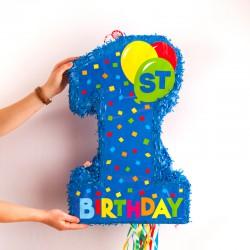 PINIATA urodzinowa na Roczek CYFRA 1 NIEBIESKA 57x36x9cm