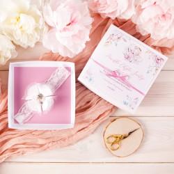 PAMIĄTKA Chrztu Świętego OPASKA na główkę Okazały kwiat (27) W PUDEŁKU