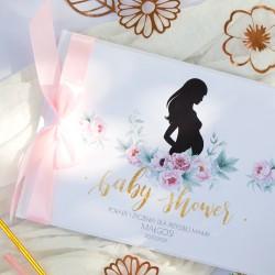 KSIĘGA Porady i Życzenia dla Przyszłej Mamy Zapach Piwonii Baby Shower Z IMIENIEM (+jasnoróżowa wstążka)