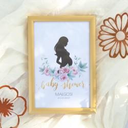 TABLICZKA na stolik Zapach Piwonii Baby Shower (+złota metalowa ramka)