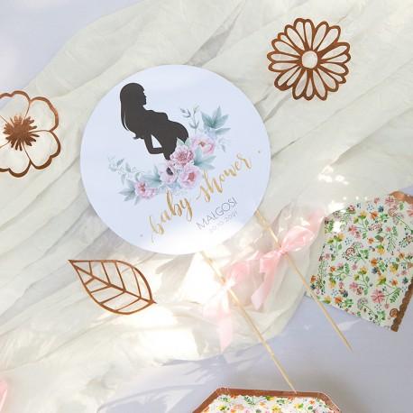 TOPPER na tort Zapach Piwonii Baby Shower Z IMIENIEM