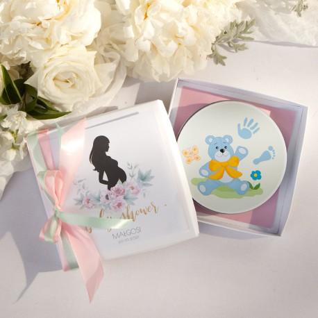 PREZENT dla Przyszłej Mamy GLINKA Odcisk bobasa Zapach Piwonii Baby Shower NIEBIESKA