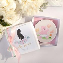 PREZENT dla Przyszłej Mamy GLINKA Odcisk bobasa Zapach Piwonii Baby Shower RÓŻOWA