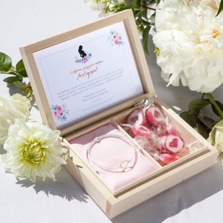 PREZENT dla Przyszłej Mamy w pudełku Zapach Piwonii BRANSOLETKA POZŁACANE SREBRO z sercem BIAŁA