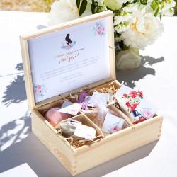 PREZENT relaksujący dla Przyszłej Mamy W SKRZYNI z 6. przegródkami Zapach Piwonii Baby Shower