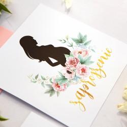 ZAPROSZENIE na Baby Shower Zapach Piwonii (+koperta z wnętrzem+naklejka)