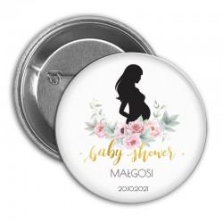 PRZYPINKA personalizowana Piwonie Baby Shower Z IMIENIEM