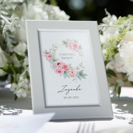 TABLICZKA na stolik Chrzest Zapach Piwonii (+biała ramka)