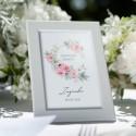 DEKORACJA stołu na Chrzest Tabliczka Piwonie (+biała ramka)