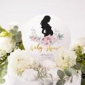 TOPPER na tort Piwonie Baby Shower Z IMIENIEM