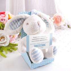 PREZENT na narodziny dziecka POZYTYWKA Pluszowy Króliczek Niebieski Z IMIENIEM