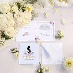 KARTKA z życzeniami na Baby Shower Zapach Piwonii (+koperta)