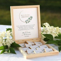 PODZIĘKOWANIE dla Chrzestnych/Dziadków na Chrzest skrzyneczka z czekoladkami Z IMIENIEM Eukaliptus