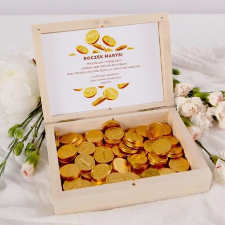 PREZENT na Roczek Skrzyneczka pieniężnych słodkości Z IMIENIEM