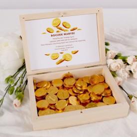 PREZENT na Roczek Skrzyneczka z pieniężnymi słodkościami Z IMIENIEM