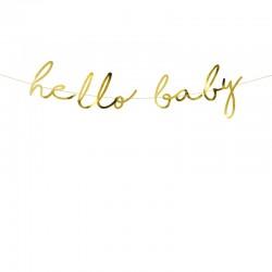 BANER girlanda Hello Baby ZŁOTY 18x70cm