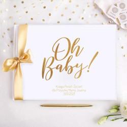 KSIĘGA Porady i Życzenia dla Przyszłej Mamy Bocian Różowy Baby Shower Z IMIENIEM (+jasnoróżowa wstążka)