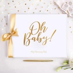 KSIĘGA Pamiątkowa Prezent na narodziny dziecka MÓJ PIERWSZY ROK (+złota wstążka)