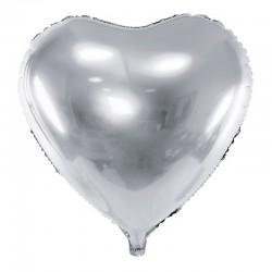 BALON foliowy Serce 45cm SREBRNY