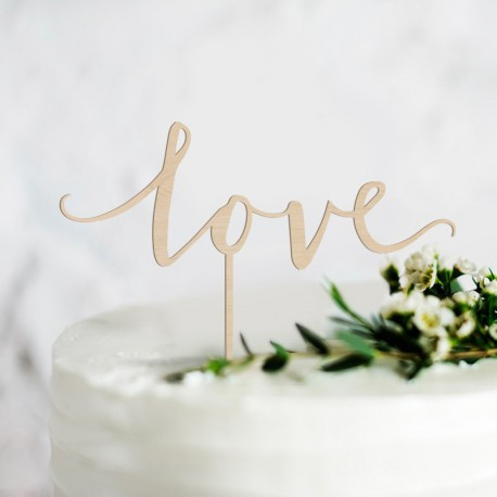 TOPPER na tort Love NATURALNY DREWNIANY