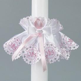 Stroik na świecę na Chrzest Różowy DLA DZIEWCZYNKI