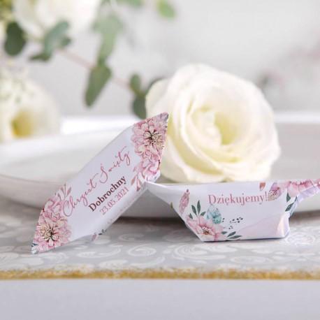 PODZIĘKOWANIE dla Chrzestnych Bombonierka z krówkami Subtelny Róż Z IMIENIEM BIAŁE PUDEŁKO