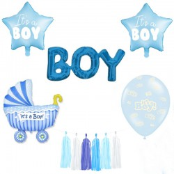 ZESTAW balonów na Baby Shower NIEBIESKI